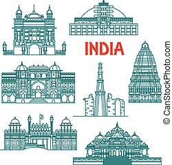 örökség, india, ikonok, építészeti, lineáris