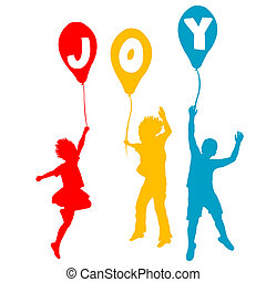 öröm, üzenet, léggömb, gyerekek, birtok