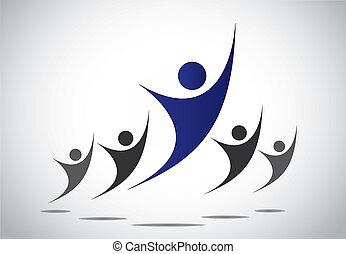 öröm, fej, fogalom, művészet, illustration., család, elkészített, elvont, &, -, siker, diadal, vagy, ugrás, tánc, vezetés, brigád munka, vezető, boldogság, teljesítés