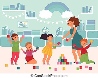 öröm, karikatúra, leány, gyerekek, lakás, vektor, fogalom, játék, mosolygós, gyerekek, boldog, kicsi, floor., illedelmes, kindergarten., fiú, játék, tanár, csinos