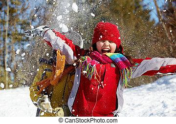öröm, tél