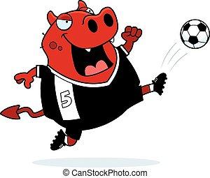 ördög, futball, karikatúra, megrúg