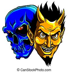 ördög, vektor, ábra, fej, koponya, démon