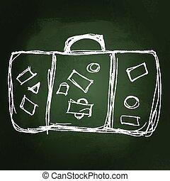 öreg, ábra, bőrönd