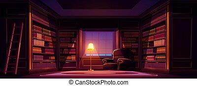 öreg, éjszaka, üres szoba, belső, könyvtár, fényűzés