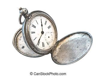 öreg, óra, ezüst, felett
