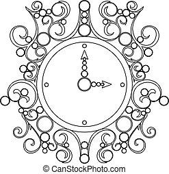 öreg, óra, szüret, vektor, háttér, fehér