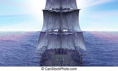 öreg, 3, render, tenger, hajó