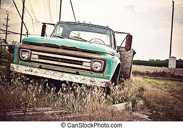 öreg, autó, útvonal, bennünket, berozsdásodott, történelmi, 66, mentén