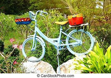 öreg, díszít, bicikli, kert