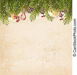 öreg, dekoráció, háttér., dolgozat, vector., karácsony