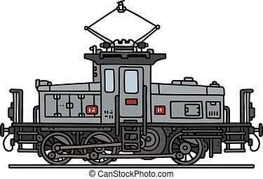 öreg, elektromos, lokomotív