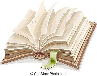 öreg, elterjed, dolgozat, tiszta, nyitott könyv