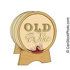 öreg, fából való, ábra, vektor, white., puskacső, bor