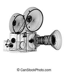 öreg, fényképezőgép., render, 3