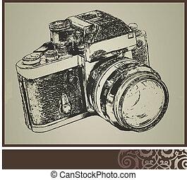 öreg, fényképezőgép