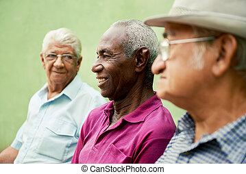 öreg, férfiak, liget, beszéd, fekete, csoport, kaukázusi