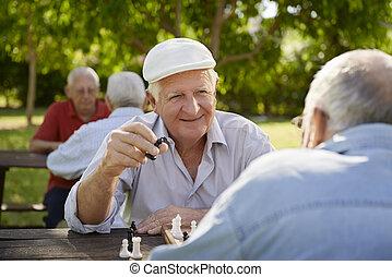 öreg, férfiak, liget, két, seniors, sakkjáték, aktivál, nyugdíjas, játék