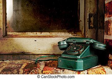 öreg, fal, szüret, -, telefon, telefon, ablak, retro, grunge, tégla