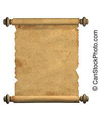 öreg, felcsavar, pergament