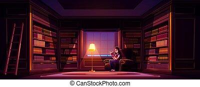öreg, felolvas, éjszaka, fényűzés, leány, könyv, könyvtár
