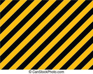 öreg, festett, -, csíkoz, sárga, átló, fal, vektor, fekete, kockázat, tégla