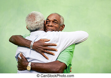 öreg, fivérek, férfiak, két, ölelgetés, fekete, szabadban, aktivál, nyugdíjas, idősebb ember, szabad