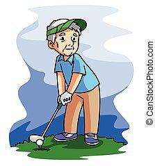 öreg, golf, játék, ember