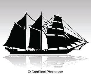 öreg, hajó, fekete, körvonal