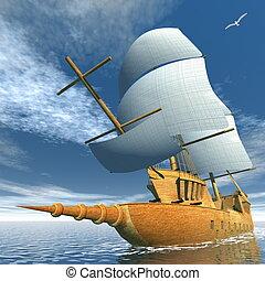 öreg, hajó, -, render, 3