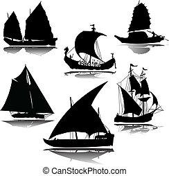 öreg, hajó, vektor, árnykép