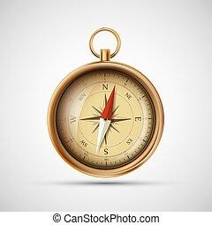 öreg, illustration., fém, vektor, compass., részvény, ikon