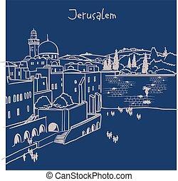 öreg, izrael, jeruzsálem, láthatár, város