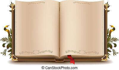 öreg, könyv, nyílik