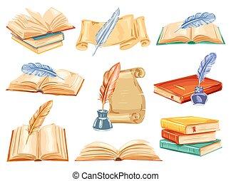 öreg, könyv, vízfestmény, akol, dolgozat, tollazat, felcsavar