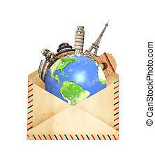 öreg, körülvevő, nyelvemlékek, boríték, bolygó, híres, világ, földdel feltölt