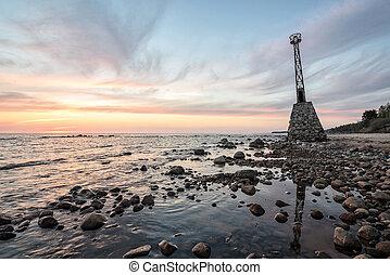 öreg, köves tengerpart, hour., napnyugta, világítótorony