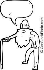 öreg, karikatúra, ember