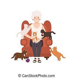 öreg, karosszék, kényelmes, női, portré, mosolygós, körülvett, betű, elszigetelt, nagyanya, háttér., fehér, home., boldog, lakás, ülés, cats., nagyanyó, hölgy, karikatúra, illustration., vektor, vagy