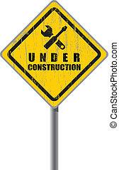öreg, kopott, aláír, út, alatt, construction.