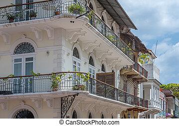 öreg, panama, gyönyörű, viejo, casco, város, homlokzatok, történelmi, város, épület