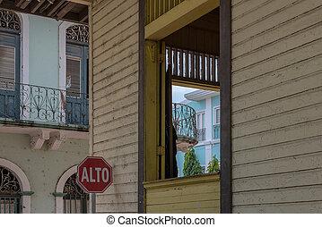 öreg, panama viejo, casco, város, épülethomlokzat, történelmi, város, épület