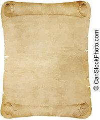 öreg, pergament, felcsavar