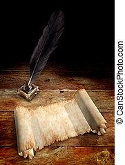 öreg, pergament, madártoll