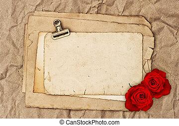 öreg, rózsa, két, dolgozat, tiszta, menstruáció