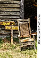 öreg, szék, napraforgók
