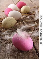 öreg, színes, ikra, horgol, asztal, húsvét