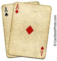 öreg, szüret, felett, elszigetelt, koszos, kitűnőség, kártya, white.