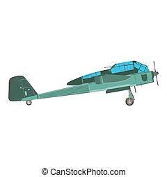 öreg, szüret, repülőgép, elszigetelt, ábra, repülőgép, vektor, retro, kétfedelű repülőgép, repülőgép, ikon
