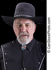 öreg, szeret, cowboy, számla, látszó, bivaly